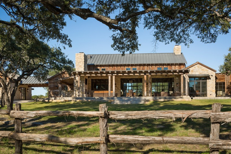 texas ranch house plans fence column windows pillars pavers stone exterior chimney patio grey roofs rustic - Ranch House