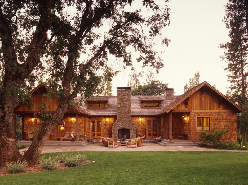 Texas Ranch House Plans Surround Fireplace Stone Exterior Patio Chairs Table Longuers Steps Chimney Double Glass