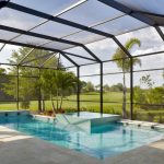 Transitional Interior Pool With Full Glass Enclosure Paver Floorings Idea