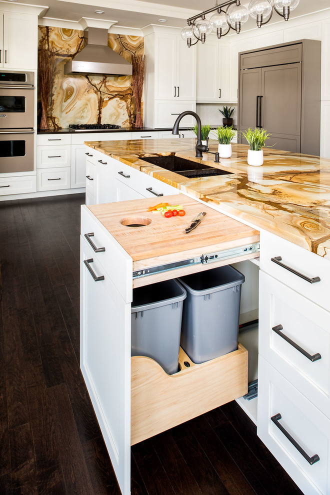 transitional kitchen design kitchen island with stonewood granite top and storage dark wood floors