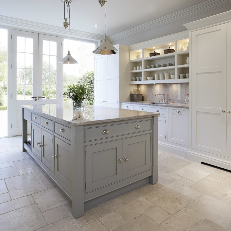 Transitional Kitchen Idea With Grey Kitchen Island With Granite Worktop And  Storage White Marble Floors Clean