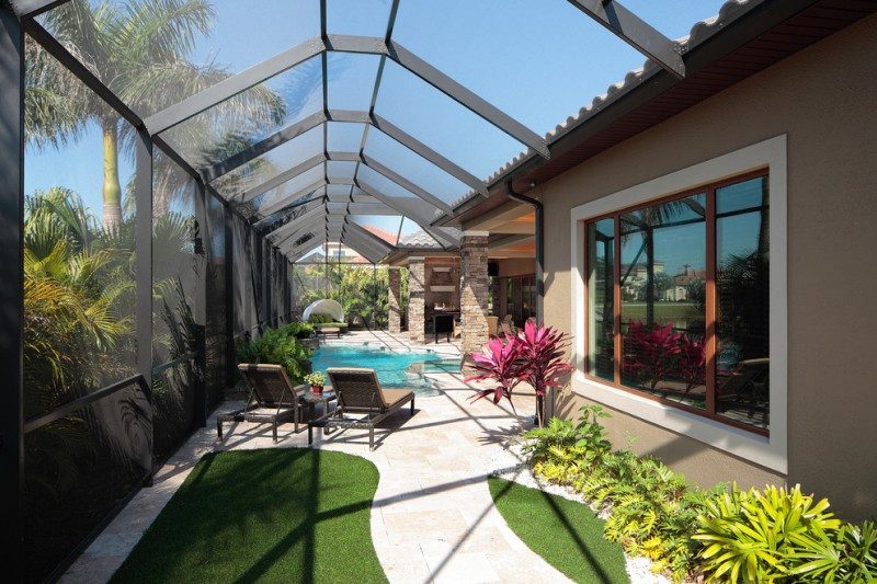 transitional patio with glass screened pool wood patio furniture simple modern exterior garden