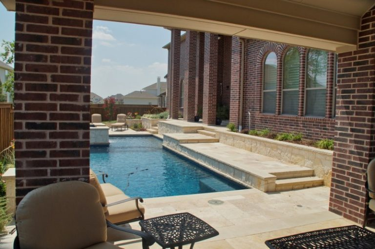 Elegantly Beautiful Travertine Pavers Pool Deck To Feast
