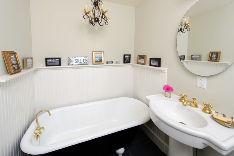 tubs for small bathrooms shabby chic bathroom elegant vanity big mirror beautiful chandelier