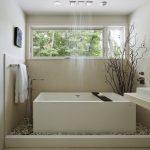 vanity lighting soakingtub with shower combination corian shower walls rain shower large windows river rock garden