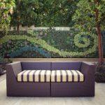 Vertical Garden Plans Couch Beige Floors Stone Walls Pillar Planters Contemporary Design