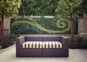 vertical garden plans couch beige floors stone walls pillar planters contemporary design