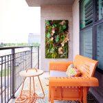 Vertical Garden Plans Orange Bench Small Round Table Metal Railing Multicolored Floors Beige Walls Windows Eclectic Design