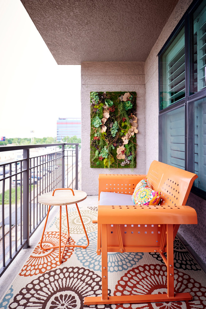 vertical garden plans orange bench small round table metal railing multicolored floors beige walls windows eclectic design
