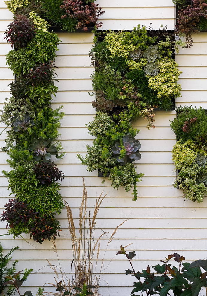 vertical garden plans planters white fences contemporary design