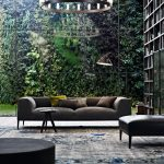 Vertical Garden Plans Sofa Bench Ottoman Carpet Floor To Ceiling Bookshelves Chandelier Light Fixture Contemporary Design