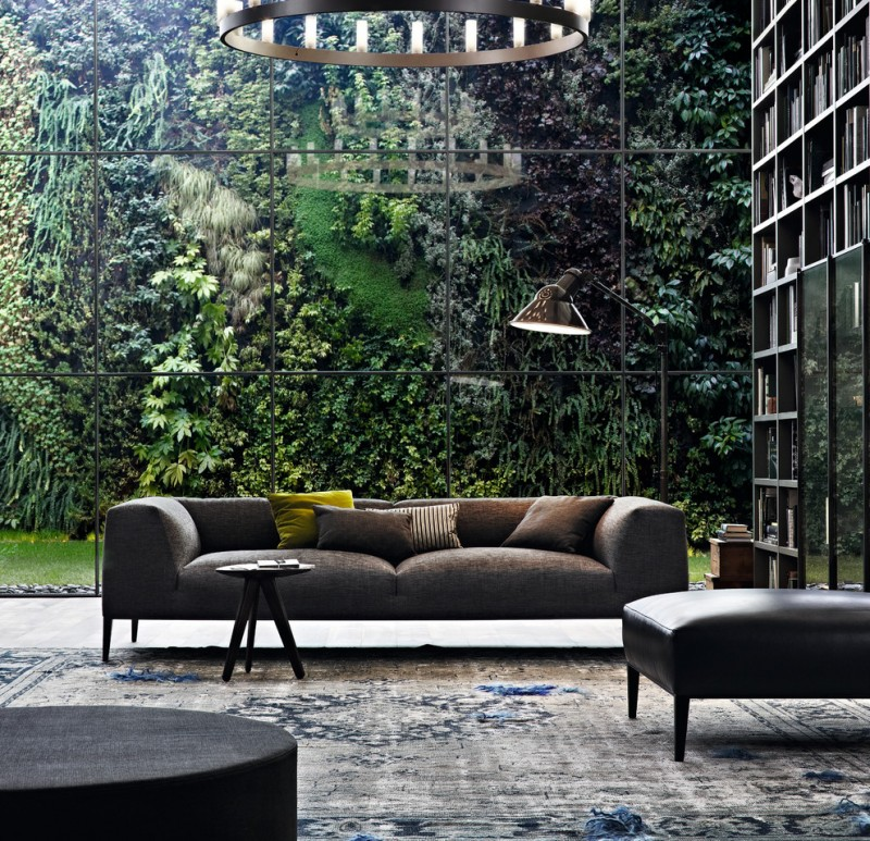 vertical garden plans sofa bench ottoman carpet floor to ceiling bookshelves chandelier light fixture contemporary design
