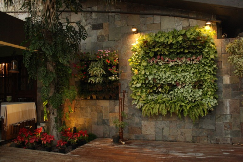 vertical garden plans stone walls decking tree dining table pendant light fixtures tropical style