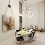 ways to hang a curtain chandeliers table chairs painting contemporary style dining room