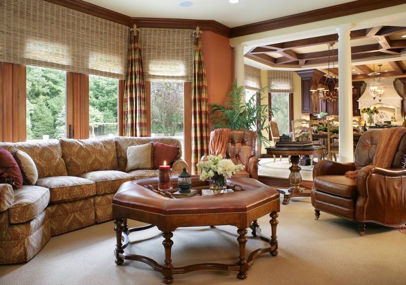 ways to hang curtains sofa pillows armchairs table decorative plant flowers traditional family room