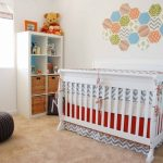 white crib wall sticker winnie the pooh bears white wall cream rug open cabinet woven baskets