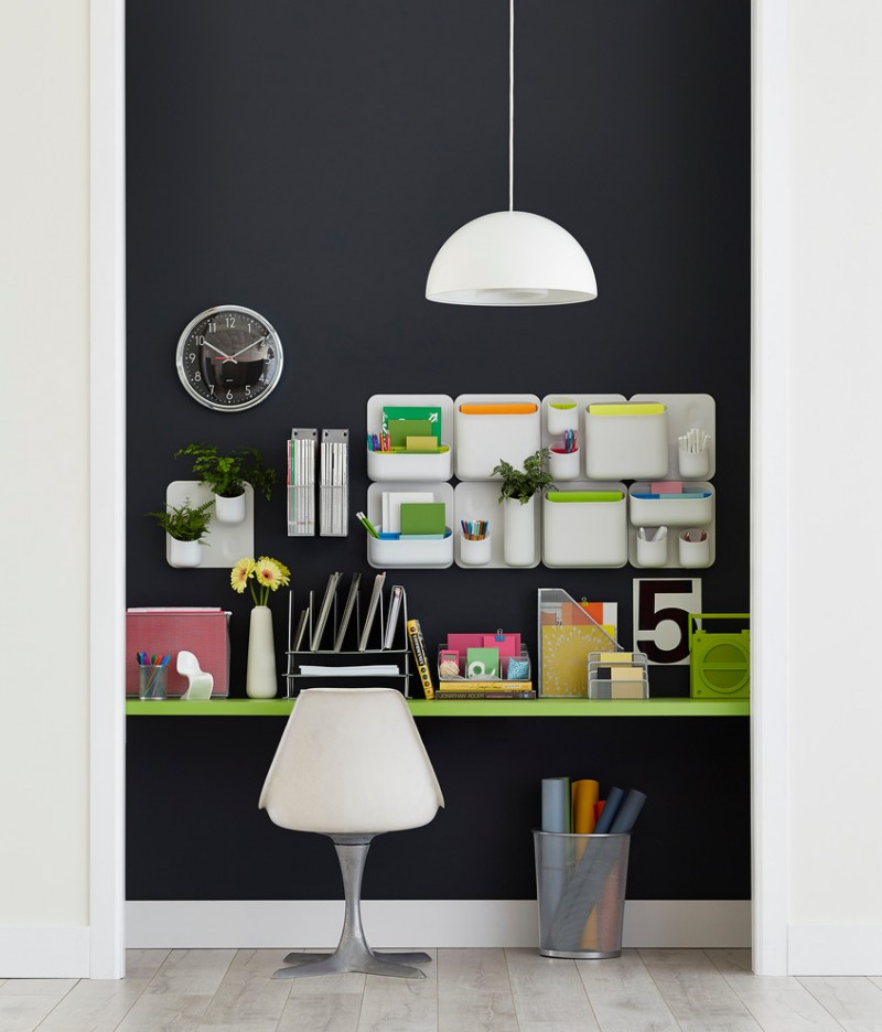white wall holder for notes and pencils