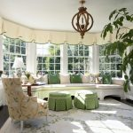Window Treatment Ideas For Large Windows Dauphin Chandelier Sunroom Plant Beautiful White Rug Window Seat