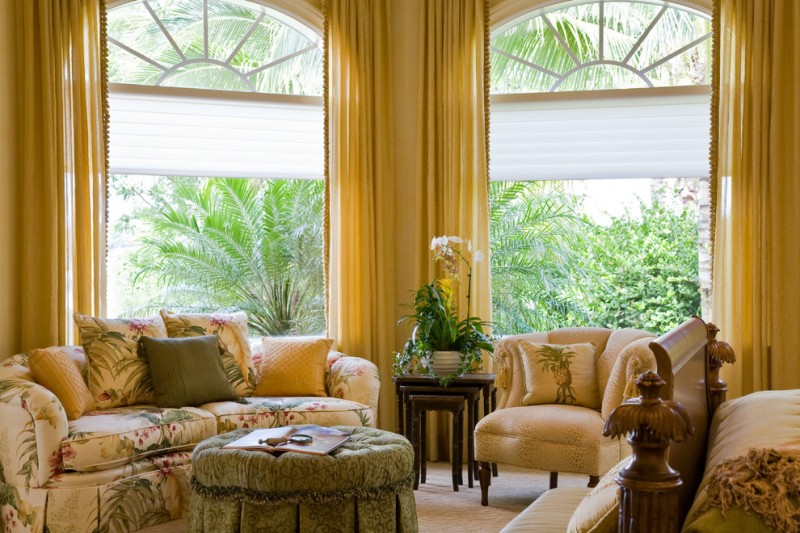 window treatment ideas for large windows sheer fabric yellow curtain windows blind cream comfortable sofa wooden table
