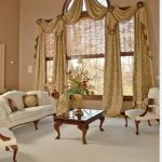 Window Treatment Ideas For Large Windows Unique Window Design Patterned Yellow Gold Curtain Formal Classic Living Room