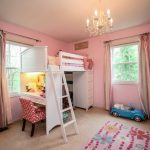 Mid Sized Traditional Kids' Room Idea For Girls With White Painted Loft Beds And Staircase Pink Walls And Accent Chairs Car Chandelier Lamp