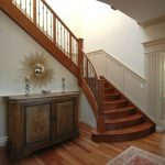 Mission Style Entry Stair Equipped With Metal Rails & Wood Posts Grey Painted Wainscoting Shabby But Cool Console Table