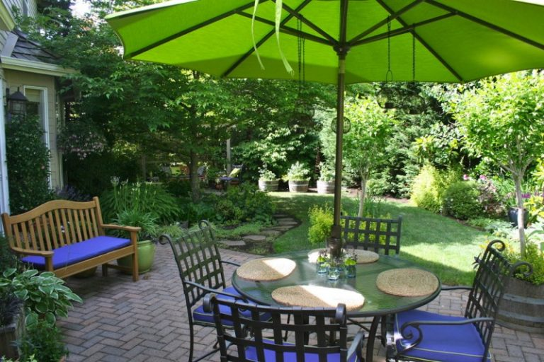 Allen Roth Patio Furniture Outdoor Dining Set Green Eclipse Aluminum Market  Umbrella Blue Sitting Cushions Wood