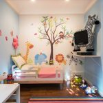 Baby Girl Bedroom Themes Bed Long Table Hanging Shelf Wall Decor Toys Ceiling Lights Hardwood Floor Carpet Contemporary Design