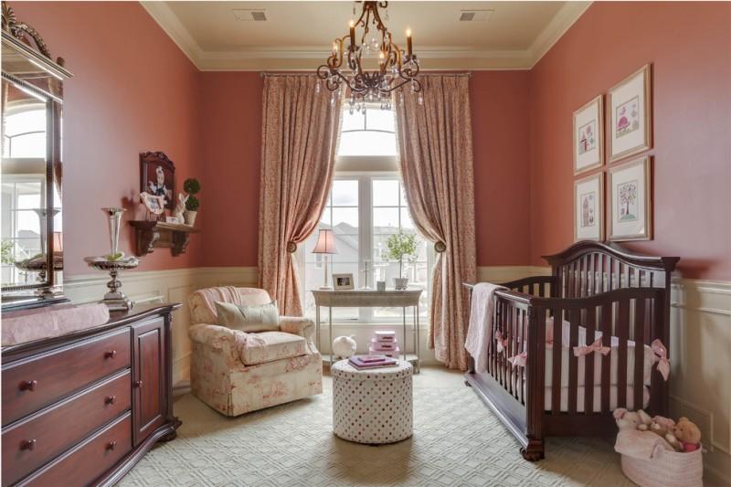 baby girl bedroom themes crib sideboard mirror slipcovered chair artworks hanging shelf ottoman sidetable chandelier traditional design