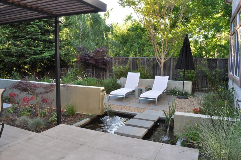 back yard pond plants window seating fench contemporary patio