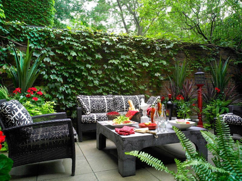 backyard patio designs chairs table plants flowers plates contemporary outdoor area