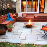 backyard patio designs firepit bench pillows stairs small window table plants door with glass contemporary style