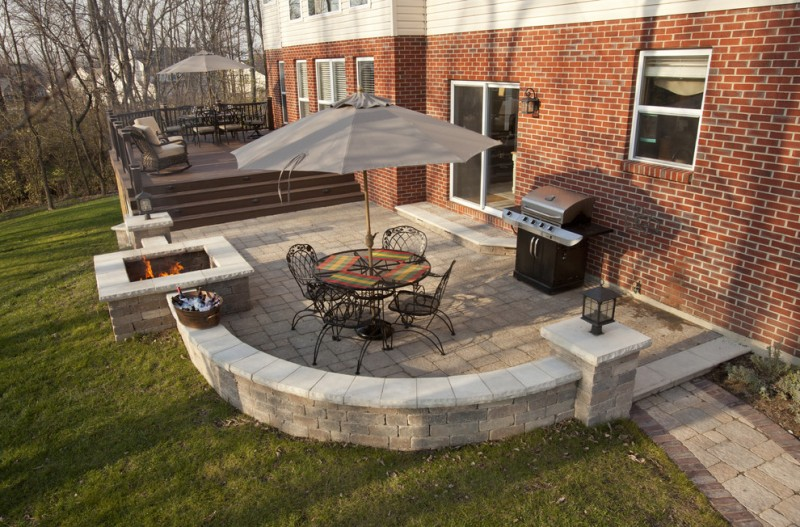 backyard paver ideas grass random limestone square fire pit outdoor grill dining set with canopy armchair