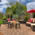 backyard paver ideas grass red corliving square patio umbrella 5 piece black fireset deep seating sunbrella chair black firepit table stools