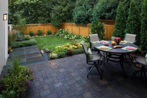 backyard paver ideas grass shrub new york blue stone annabelle hydrangea contemporary patio black hard cushioned dining table set