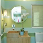 Bathroom Color Combinations Green And Blue Color Combination Large Round Mirror Unique Wood Vanity Flower Sconce Toilet Towel Ring