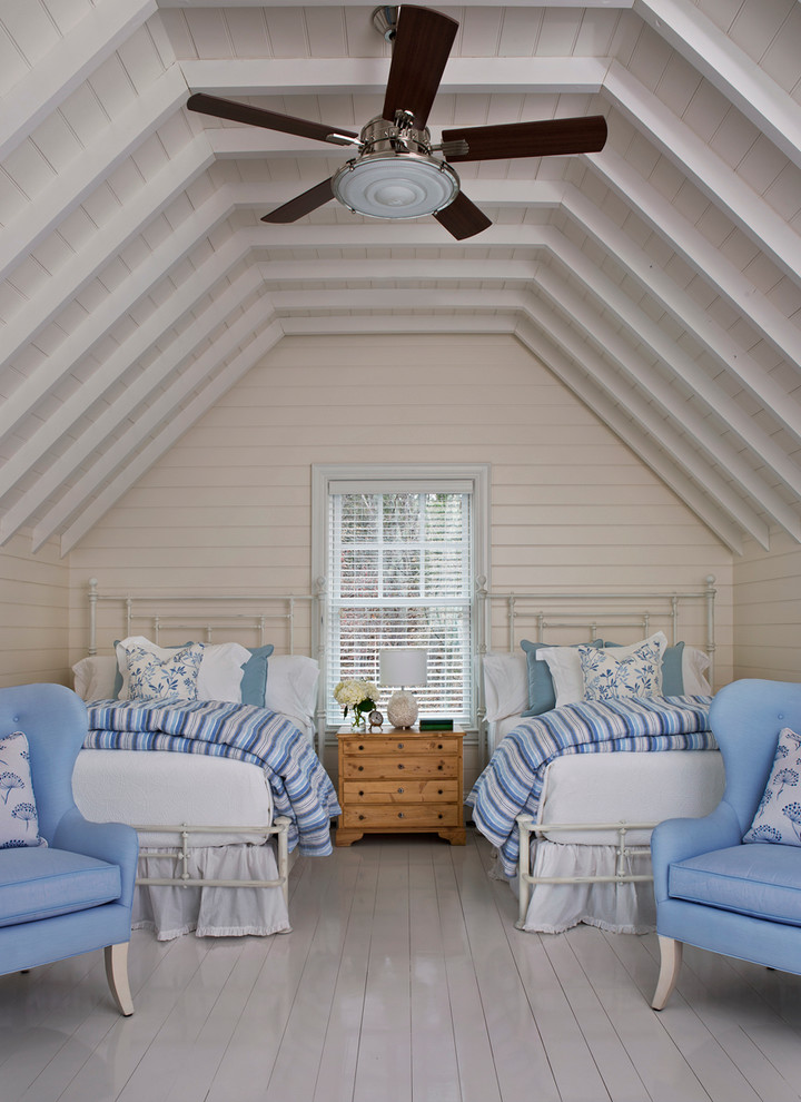 beach style bedding idea wooden bedside table white painted woodboard floors white painted ceilings with slanted and exposed beams