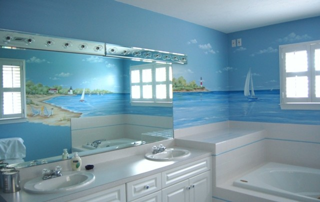 beach themed bathroom decor hand printed beach mural wall bathtub square window with shades two sinks white vanity
