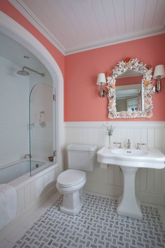 beach themed bathroom decor pink and white bathroom unique mirror with various sea shells frame bathtub shower combo with half glass door
