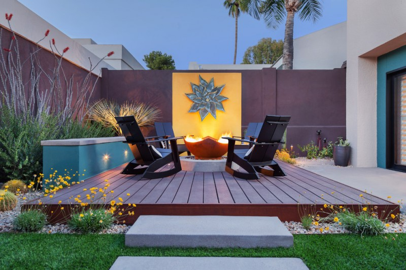 best deck paint fireplace flowers grass chairs contemporary style yellow torquoise