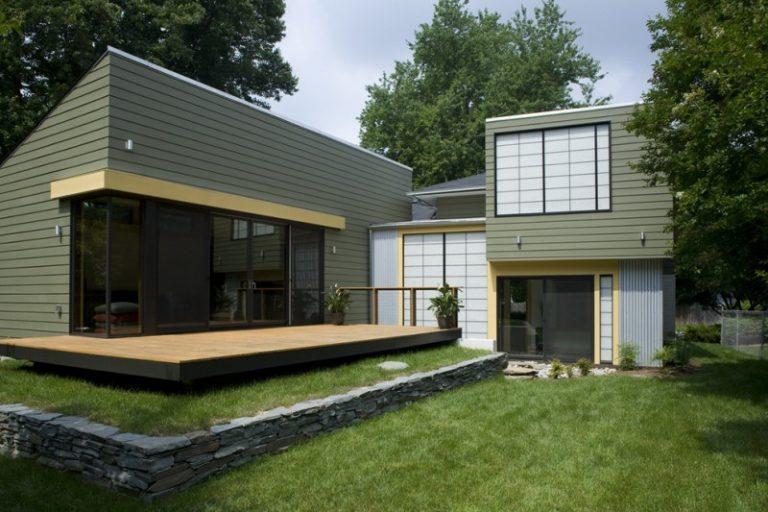 Best Deck Paint Grass Stones Glass Plants Modern House Exterior Green Ochre Part 71