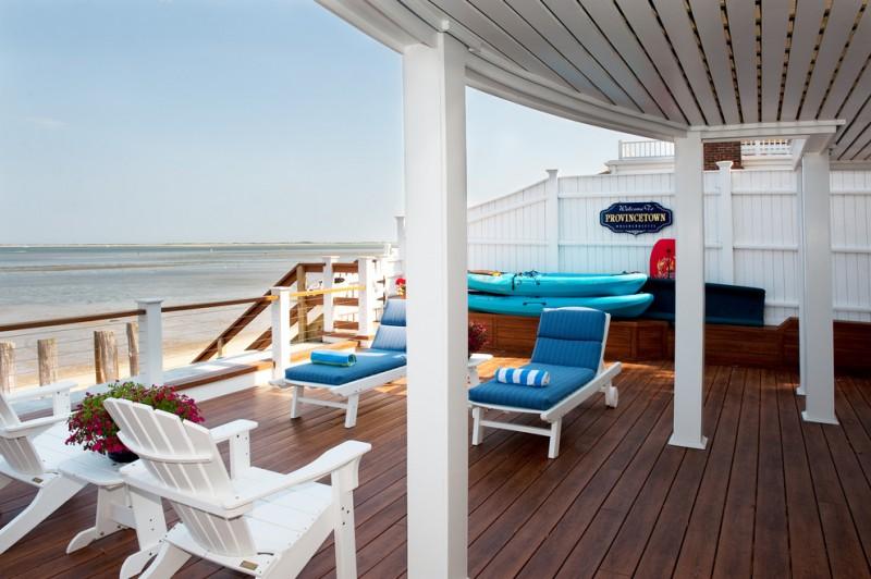 best deck paint wood floor chairs table flowers railing pillars beach style deck