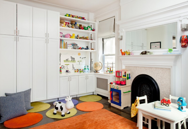best play kitchens mirror table chairs tiny stove faucet sink big cabinet shelves pillows transitional kids room toys window books