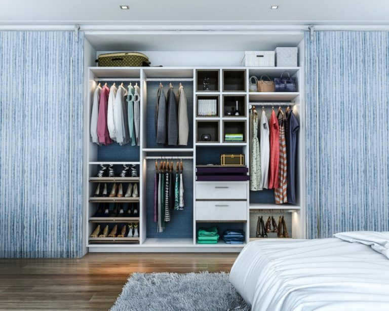Big Walk In Closet Wood Floor Carpet Bed Shelves Drawers Clothes Shoes  Ceiling Lights Contemporary Bedroom