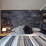 Black And White Room Decorations Black Board With White Chalk Hand Writing Wallpaper Wooden Openshelves Gray And Black Curtain