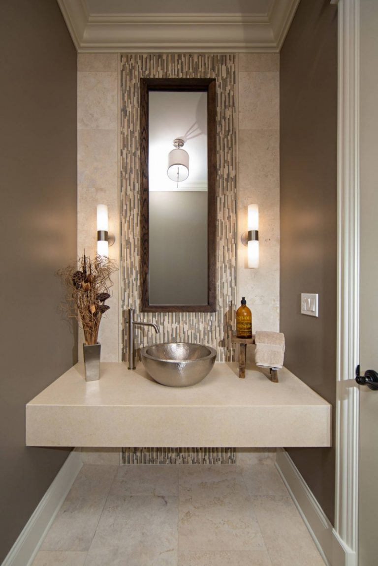Bowl Sink Floating Vanity Accent Wall High Mirror Grey Tiled Floor Pendant Lights Sconce