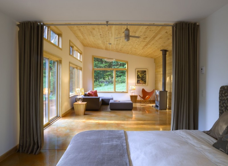cabin designs and floor plans bed pillows curtains wooden ceiling big windows cool chair small tables modern bedroom