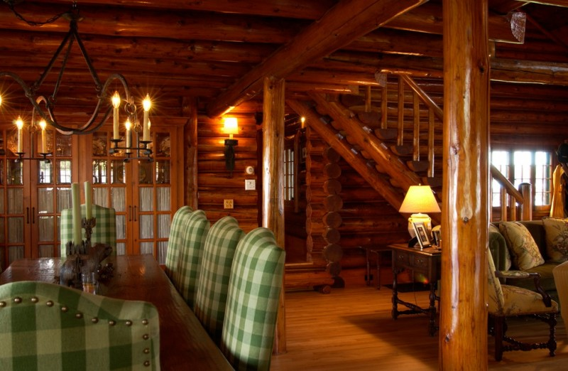 cabin designs and floor plans table chairs hardwood floor chandelier lamps stairs logs rustic dining room