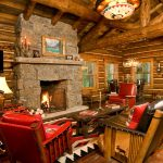 Cabin Designs And Floor Plans Wood Floor Stone Framed Fireplace Logs Wooden Ceiling Window Rustic Living Room