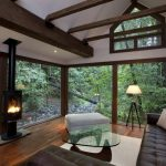 Cabin Designs And Floor Plants Glass Top Table Sofa Wood Floor Lamp Cool Window Fireplace Rustic Living Room